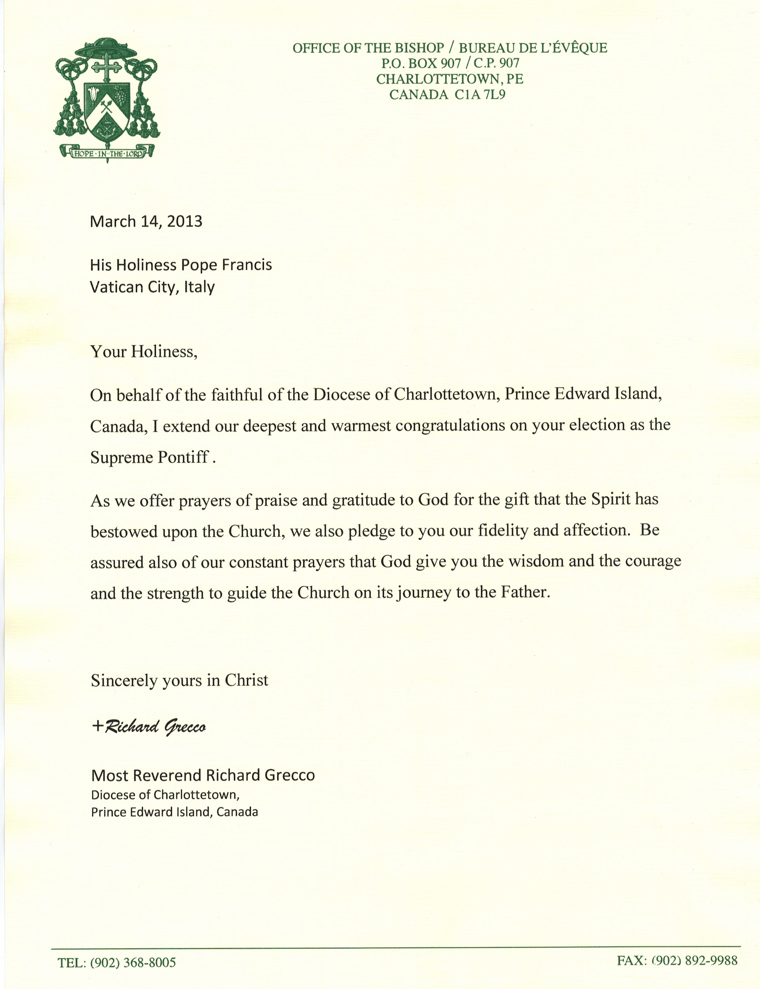 letter to pope francis | Diocese of Charlottetown