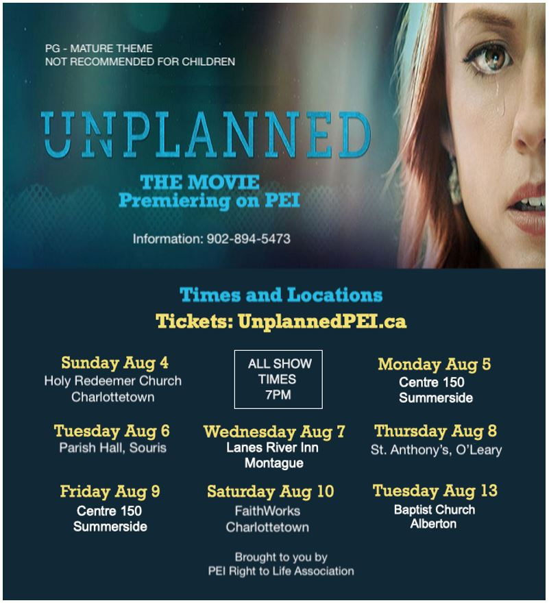 Unplanned Movie Presentation August 4 To 13 Diocese Of Charlottetown